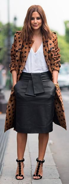 Brown coat with black hearts + black midi skirt and white blouse + black T strap heels