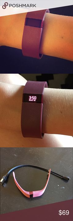 Fitbit Charge • Maroon • Size Small This is a Fitbit Charge that has a maroon band! It is a size small so fits most small to medium size wrists! The band is adjustable to fit you! In good used condition, works perfectly! Has a few minor scratches on the display screen (see last photo). I got an Apple Watch so I no longer am in need of it! Displays date/time, steps, mileage, calories burned, and stairs climbed. This one does not do heart rate. Comes with charging cord. I do not have the…
