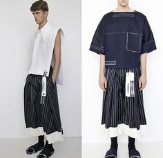 Ximon Lee 2016 Spring Summer Mens Lookbook Presentation - Mode à Paris Fashion Week Mode Masculine France - Raw Dry Rigid Denim Jeans Boxy Board Exaggerated Collar Wide Leg Trousers Palazzo Pants Stripes Pinstripe Slippers Wide Collar Oversized Outerwear Coat Jacket Tag Multi-Panel Panels Vest Waistcoat Sleeveless Straps Shorts Culottes Gauchos Sandwich First Taste