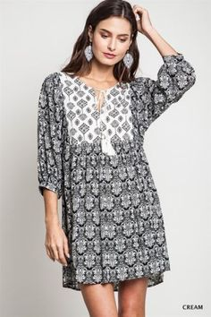 Umgee-Black-Mix-Country-Bohemian-Ethnic-Cotton-Poly-Tunic-Shift-Dress-SZ-M