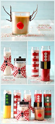 Gifts - DIY Candles Christmas Gifts - Candles Tutorial at .Pin it now and make them later!:Christmas Gifts - Candles Tutorial at .Pin it now and make them later! Christmas Candles, Noel Christmas, Homemade Christmas, Diy Christmas Gifts, Christmas Projects, Christmas Decorations, Christmas Night, Candle Decorations, Christmas Ideas