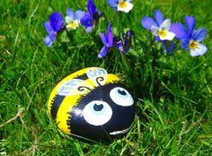 Bumble bee, painted rock, summer garden, yellow, black, honey bee ...