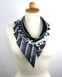 Massive silk collar  zipper collar  upcycled silk and by Bartinki, $50.00.  Fabulous!