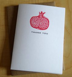 Pomegranate - Thank You - Handmade Cards - Box of 6