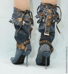 """Сапоги джинсовые """"Индиго"""" на шпильке - тёмно-синий,синий,голубой,джинсовый стиль"""
