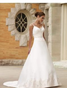 Beaded V-neck with Spathetti straps and Empire A line Skirt in Chapel Train 2010 Bridal Wedding Dress WD-0098