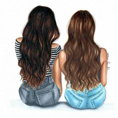 Me and my bff Best Friend Sketches, Friends Sketch, Drawings Of Friends, Drawing Of Best Friends, Cute Best Friend Drawings, Bff Pictures, Best Friend Pictures, Light Brow Hair, Best Friend Wallpaper