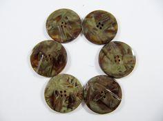 Vintage Lot of 6  Art-Deco Marbled Brown/Olive Carved Bakelite  / Celluloid  Buttons * 25 mm *** # B-209 by TheTreasureBoxOrna on Etsy