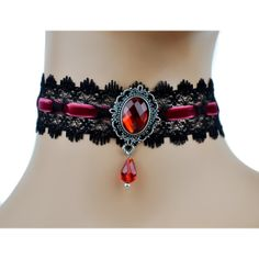 Dysfunctional Doll Red Stone & Black Victorian Lace Choker with Velvet Ribbon : Chokers