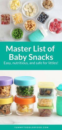 Master List of Baby Snacks (Easy Finger Foods + Recipes) Healthy Finger Foods, Healthy Baby Food, Baby Finger Foods, Baby Foods, Finger Foods For Kids, Kid Foods, Baby Snacks, Toddler Snacks, Healthy Snacks For Toddlers