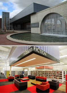 McAllen (Texas) Public Library --- A closed Wal-Mart was transformed into an amazing modern library World Library, City Library, Library Design, Community Places, Modern Library, Lounge Design, Library Displays, Learning Spaces, Common Area