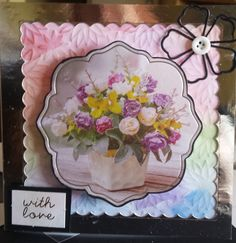 """With Love Floral themed 6"""" square card with silver mirror frame - hand coloured floral embossed background"""