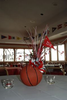 Graduation party centerpiece - replace the bball with a vball!