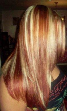 Sleek Blonde Hair With Red Highlights