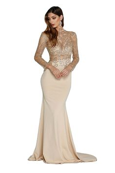 c1af80b3a7 Missord Women s O Neck Long Sleeve Bodycon Maxi Dress for Prom - Khaki -  CV128MV6SJ7