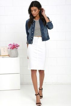 Make your office outfits and brunch attire a little more trendy with the Blank NYC Faithful White Denim Pencil Skirt! Super stretchy denim pencil skirt with kick pleat. Denim Pencil Skirt Outfit, White Skirt Outfits, White Denim Skirt, Pencil Skirts, Khaki Skirt, Mini Skirts, How To Wear Belts, Dressing, Clothes