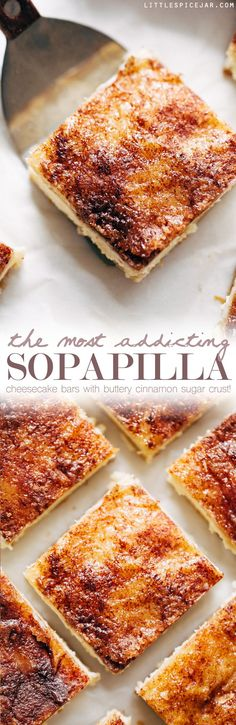 The Most Addicting Sopapilla Cheesecake Bars made with just 8 simple ingredients! These bars don't use the crescent roll dough! Note: Pepperidge Farm puff pastry sheets are too small to fit in 13 x Halved filling ingredients and made in 9 x 9 instead. Sopapilla Cheesecake Bars, Cheesecake Recipes, Cinnamon Roll Cheesecake, Oreo Cheesecake, Mexican Food Recipes, Sweet Recipes, Dessert Recipes, Bar Recipes, Cooks Country Recipes