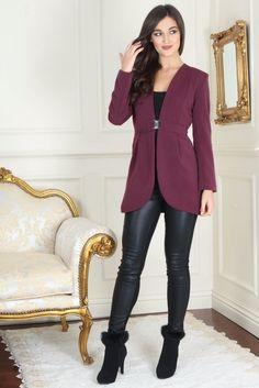 Izzy Diamond Clasp Burgundy Dress Blazer