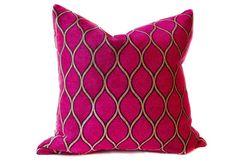 Deep fuchsia, pink, raspberry and Gold Moroccan Pillow Cover Fuchsia Cushion Chenille Velvet Accent Toss Throw Pillow