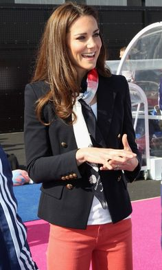 Duchess of Cambridge || 2012 Olympics || large official Paralympic scarf, Emilio Pucci double-breasted navy jacket with peak lapel, double vents, gold buttons, white shirt, coral jeans, LK Bennett Art navy court shoes || Kiki McDonough Grace earrings