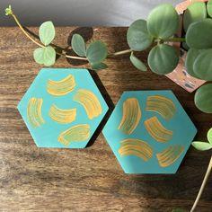 Hexagon pair of coasters in teal + mustard brushstrokes