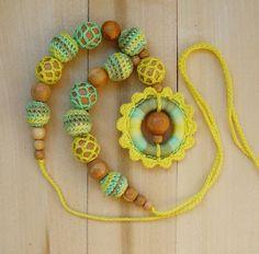 Nursing necklace Wooden ring Babywearing necklace от NittoMiton