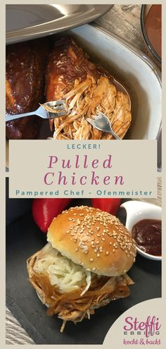 Pulled Chicken from the master oven from Pampered Chef® - The softest pulled-ticking recipe in the world! Perfect for the stove master from Pampered Chef. Pulled Chicken Recipes, Hamburger Meat Recipes, Sausage Recipes, Egg Recipes, Turkey Recipes, Crockpot Meat, Pizza Recipes, Paleo Recipes, Free Recipes