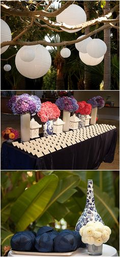 The Beverly Hills Hotel | Wedding | Colorful Flowers | Wedding Centerpieces |  Paper lanterns in trees