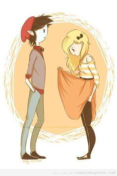 Fionna  y Marshall   Conteniéndose el momento para explotar la voluntad :)