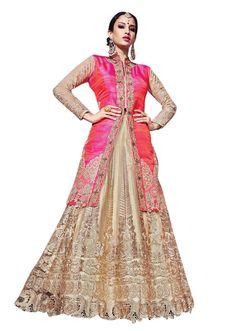 Buy Now Pink-Beige Pure Raw Silk Long Jacket with Net Diamond Kali Bridal Lehenga Choli only at Lalgulal.com  Price :- 13,265/- inr. To Order :- http://bit.ly/1LtAvlu COD & Free Shipping Available only in India #sarees #weddingsaree #saris #weddingwear #bridalwear #halfandhalf #allthingsbridal #bridalsuits #ethnicfashion #celebrity #shopping #fashion #bollywood #india #indiafashion #bollywooddesigns #onlineshopping #designersaree