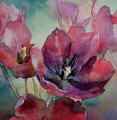 aquarelle tulips, by Kalina Toneva