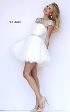 Cute White Sherri Hill 11191 Beads Sweet Sixteen Dress