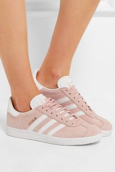 Rubber sole measures approximately 20mm/ 1 inch Pastel-pink suede, white leather Lace-up front Designer color: Vapour Pink