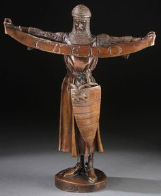 "A PATINATED BRONZE FIGURE ""CREDO"" OF A CRUSADER KNIGHT AFTER EMMANUEL FREMIET (FRENCH 1924-1910), PROBABLY LAST QUARTER OF THE 20TH CENTURY. Finely cast in bronze and with dark brown patina. Signed on base ""E. Fremiet"". Trace signature of foundry Barbedienne. Height 14.5 inches (36.8 cm)."