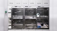 High end ICU set up with power points, fluid pump attachments and storage in close proximity.