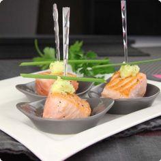 Bouchées au saumon, beurre au wasabi - Maboiteadinners.com !