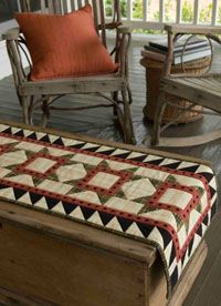 Love this table runner.  Would also make a great bed runner instead of making a full-sized quilt.    Here's the link.  http://www.quiltmag.com/sewing-projects/quilt101-folk-art-table-runner/