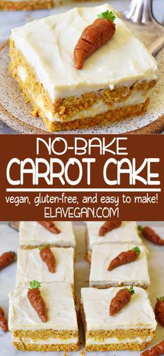 No-bake carrot cake for breakfast or dessert. These healthy bars are vegan, gluten-free, refined sugar-free, and easy to make. Perfect dessert for Easter! Kid Desserts, Sugar Free Desserts, Healthy Dessert Recipes, Gluten Free Desserts, Cake Recipes, Quick Easy Desserts, Easter Desserts, Gluten Free Cakes, Egg Recipes