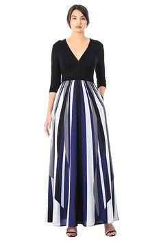 fa2f743634c I  lt 3 this Banded empire linear print mixed media maxi dress from eShakti  Crepe