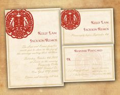 Wedding Invitation and RSVP Card Suite - Rustic Asian Chinese Double Happiness Vintage Red Gold Personalized DIY Printable