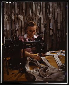 Making harnesses, Mary Saverick stitching, Pioneer Parachute Company Mills, Manchester, Conn. by William M. Rittase