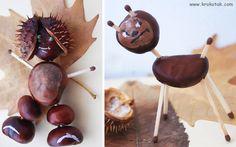 Knutselen met kastanjes Autumn Crafts, Autumn Art, Nature Crafts, Diy And Crafts, Crafts For Kids, Arts And Crafts, Autumn Activities, Activities For Kids, Glands