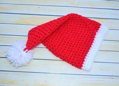 newborn crochet santa Hat by SweetBabiesinYarn on Etsy, $18.00
