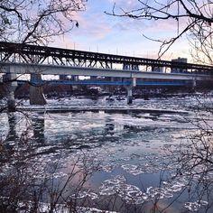 "Ice melts on the North Saskatchewan river under the High Level Bridge in Edmonton Alberta @taylorburk3's photo: ""Edmonton, Alberta."""
