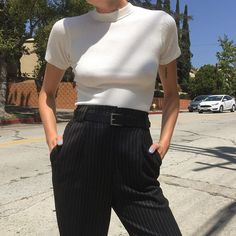 """Vintage Parisienne cotton blend ribbed mock. Sz Sm and $32 + shipping. High waisted pinstripe trousers. 100% fine soft wool. Sz 2 or 27"""" waist and $62 + shipping. First to comment with postal code for purchase. SOLD"""
