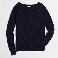 J Crew J.Crew Factory pointelle-sleeve scoopneck sweater ($40) ❤ liked on Polyvore featuring tops, sweaters, scoopneck top, long sleeve sweater, blue top, sleeve sweater and scoop neck sweater