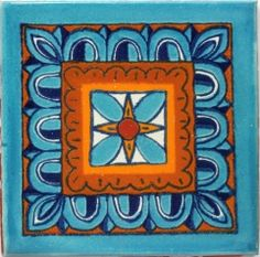 / hand painted mexican talavera tile from hadeda / in turquoise and orange / Restaurant Mexicano, Hacienda Homes, Mexican Ceramics, Spanish Style, Spanish Revival, Spanish Colonial, Portuguese Tiles, Oriental Pattern, World Of Color