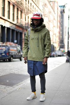 Street Style. Man. Fashion. Clothing. Art. City. Urban. Green & Blue. Layers. Slim. Fit. Colors. Jeans. Worn. Sneakers. Fresh. Cap. Minimal. Simple. Clean. Accessories.