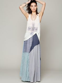d864217bf1 Free People FP ONE Patchwork Maxi Free People Skirt, Boho Outfits, Fashion  Outfits,