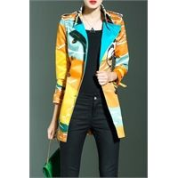 LORCHAREA Printed Trench Coat